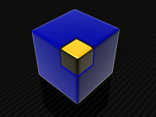 blue square with gold corner