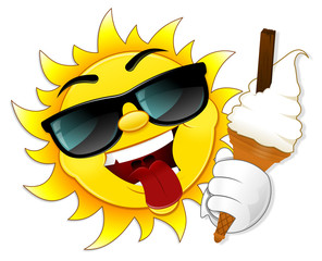 Sun illustration with ice cream