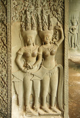 Bas-relief with Apsaras at Angkor Wat temple
