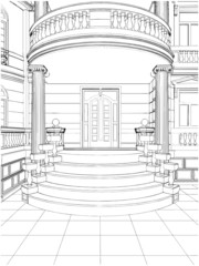 Building Entrance Residential Eclectic House Vector 10