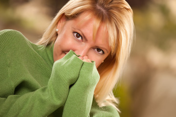 Attractive Shy Brown Eyed Woman Portrait