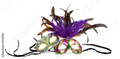 Mardi gras masks on a white background