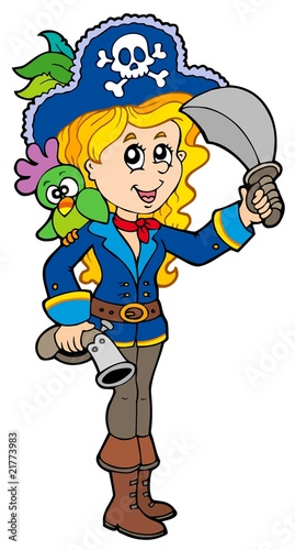 Deurstickers Piraten Pretty pirate girl with parrot