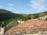 Old roof of the Tuscan villa amongst vineyards poster