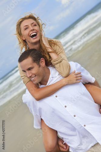 Man and Woman Couple Having Fun On A Beach