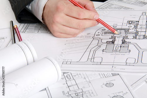Leinwandbild Motiv The technical drawing