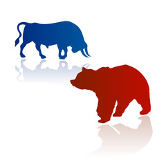 bear and bull stock market theory vector
