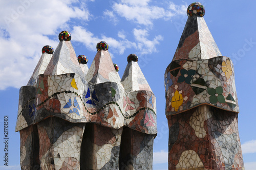 Outside details of the historical house of Gaudi