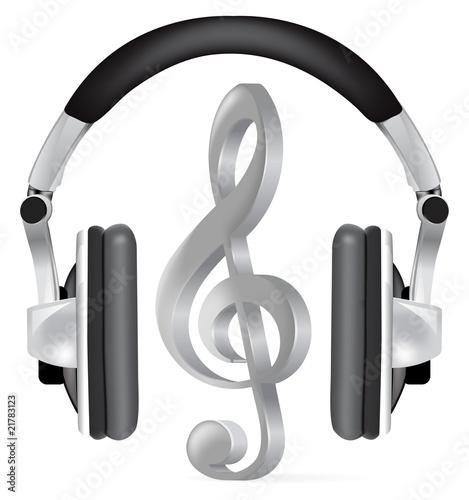 Realistic headphones with music note