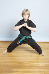 Young, male, green belt, Karate student greeting the room