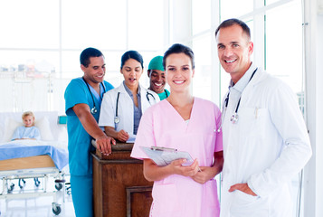 Portrait of a diverse medical team at work