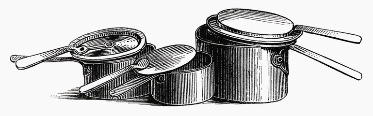 Various old pots and pans (illustration)