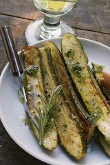 Fried courgettes with rosemary