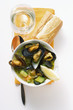 Mussel soup with courgettes; baguette