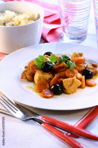 Chicken with carrots and olives; couscous