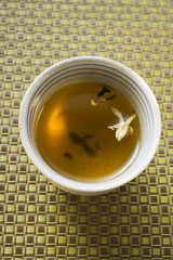 Jasmine tea in small bowl