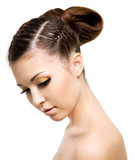 woman with style hairstyle of pigtail poster