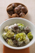 Brussels sprouts with chestnuts and cream sauce