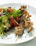 Chicken kebabs with salad (Lebanon)