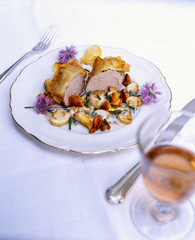 Pork fillet with potato crust, mushrooms and chives