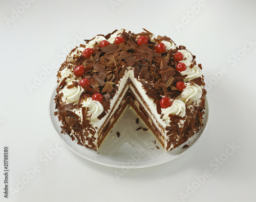 Black Forest gateau with pieces taken