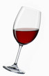 A glass of red wine, at an angle