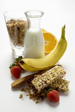Healthy eating with muesli, fruit and milk