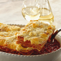 A Serving of Lasagne with White Wine