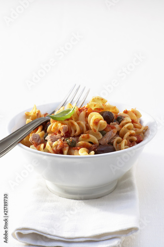 Fusilli puttanesca with tuna