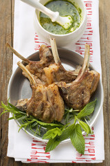 Grilled lamb cutlets, fresh herbs, herb sauce