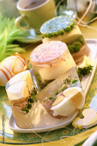 Eggs and peas in aspic for Easter