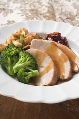Turkey breast with broccoli, bread stuffing & cranberries