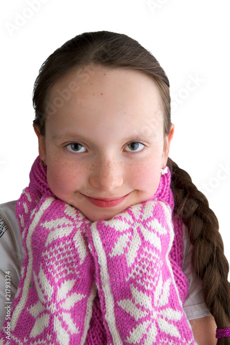 Girl with a handmade scarf and gloves
