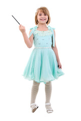 Little Girl Dressed As Fairy Or Princess. Studio Shoot Over Whit