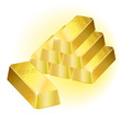 Gold bars over white