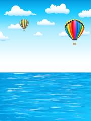 Heißluftballons über dem Meer