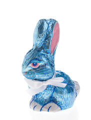 Easter chocolate bunny in blue foil