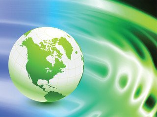 Globe on Abstract Liquid Wave Background