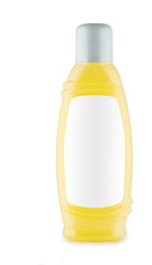 yellow bottle of shampoo isolated