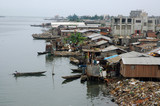 Houses along the waterfront in an African city
