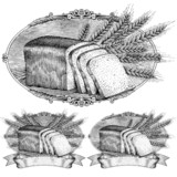 woodcut style bread and wheat label