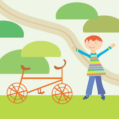 Cartoon boy and bicycle ready to journey