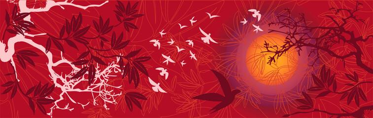 Paysage Asiatique Soleil Couchant avec Arbres et Oiseaux