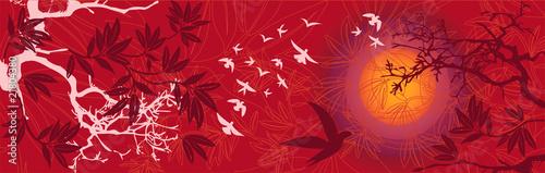 Paysage Asiatique Soleil Couchant avec Arbres et Oiseaux © Artellia