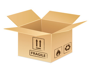 Open cardboard delivery or transport icon.