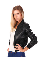 Beautiful Blonde Girl in Leather Jacket isolated on white