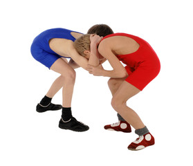 two wrestlers Greco-Roman wrestling