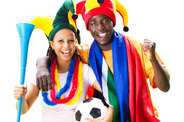 smiling football fans