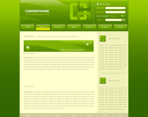 Vector web site template with green background