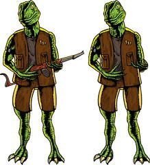 Dinosaur soldier holding gun